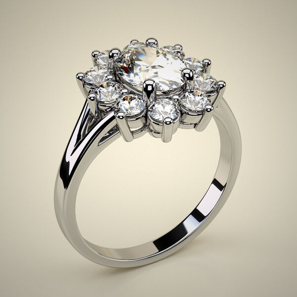 PAVE SOLITAIRE RING ENG049