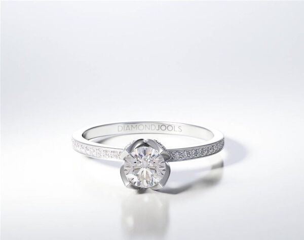 PAVE SOLITAIRE RING ENG066